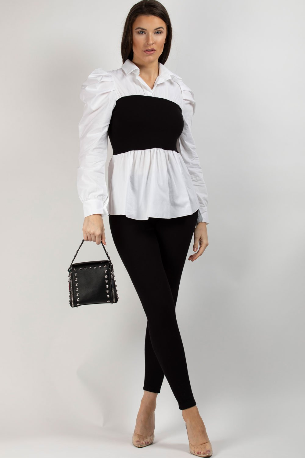 ribbed shirt black white