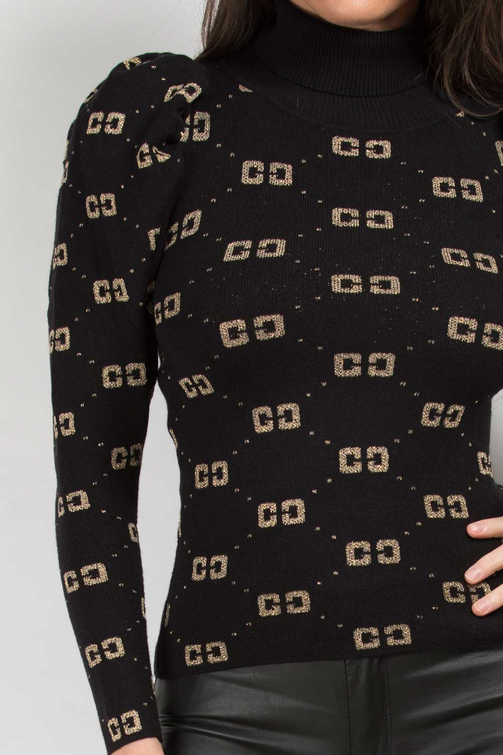 black cc print jumper womens