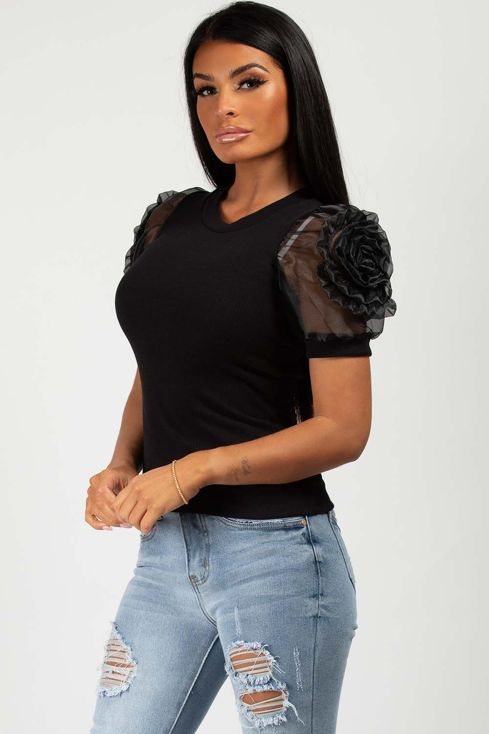rose shoulder ribbed top