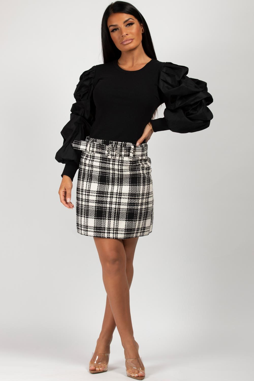 black ruched puff sleeve ribbed top
