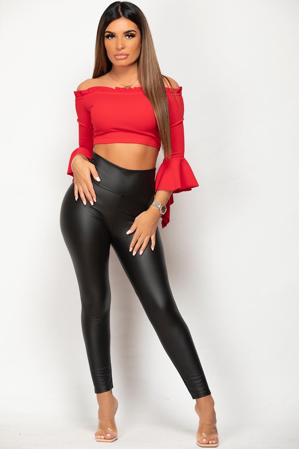 black leather look ruched bum high waisted leggings