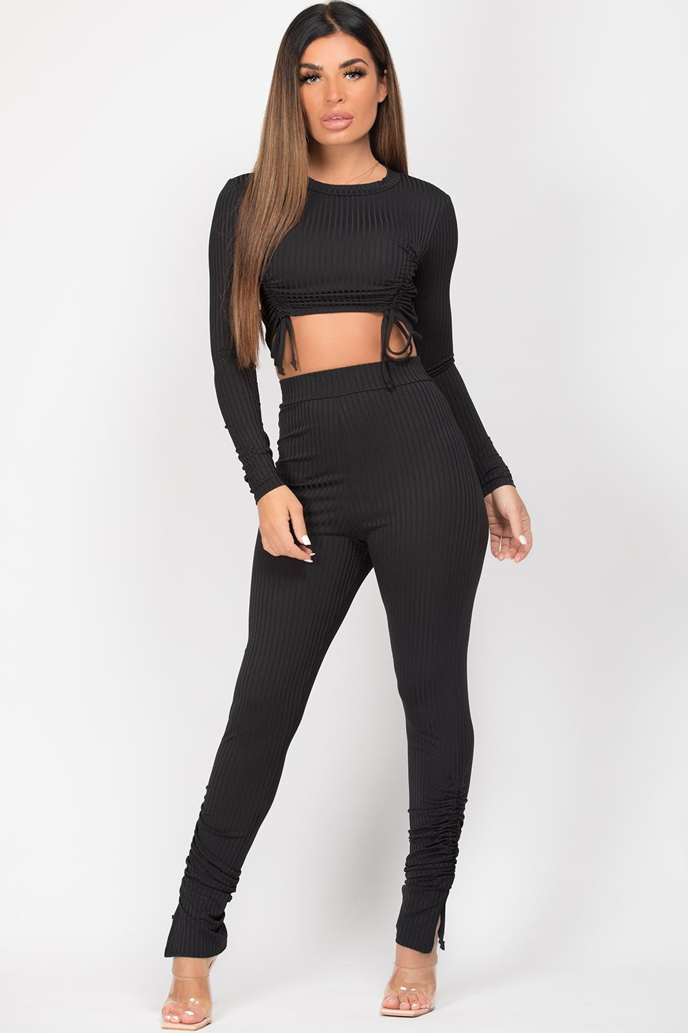 black ribbed ruched front loungewear set