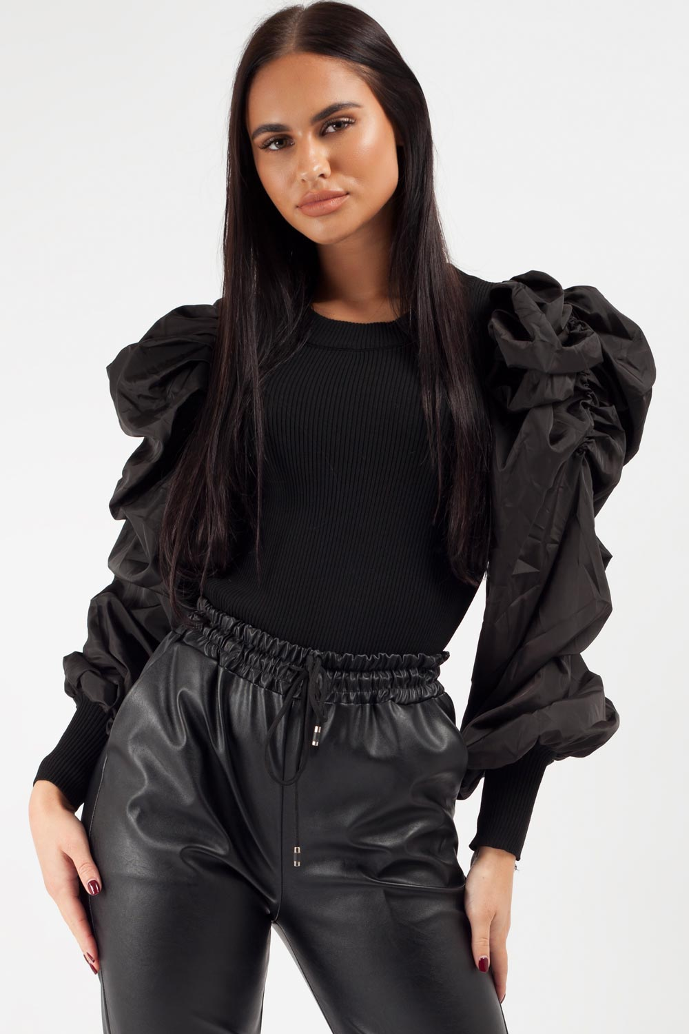 satin sleeve jumper black
