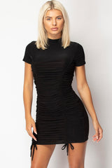 black slinky ruched bodycon dress size 6