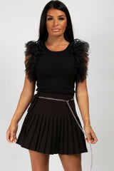 black tutu sleeve bodysuit