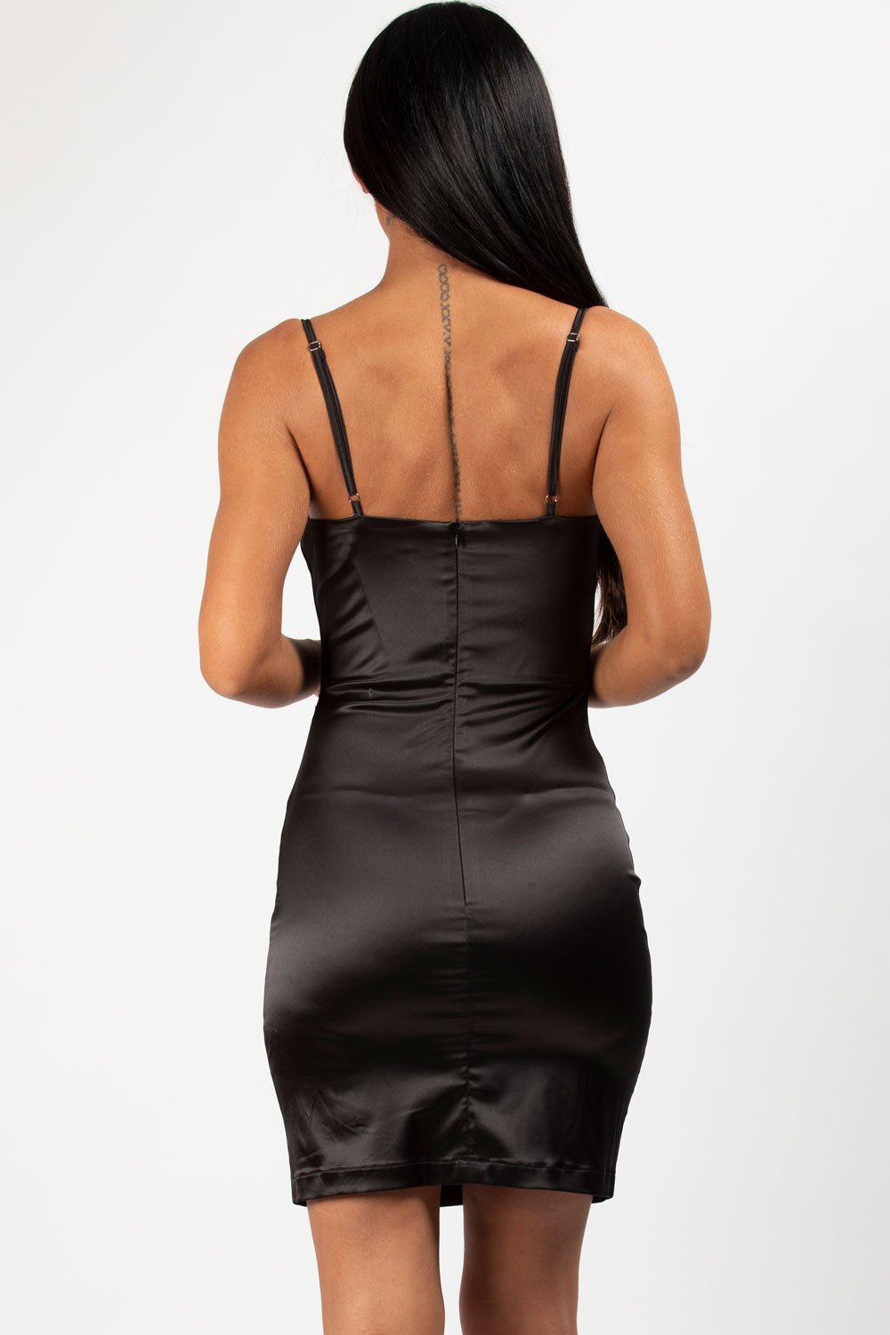 black satin bustier dress