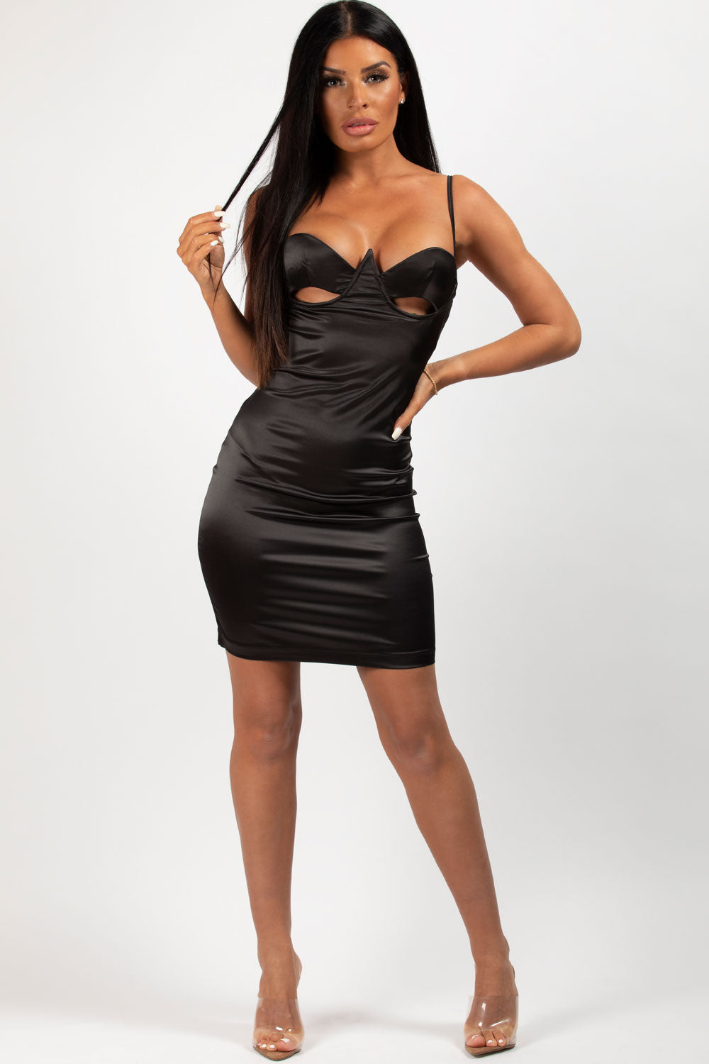 black satin cut out bust bodycon dress