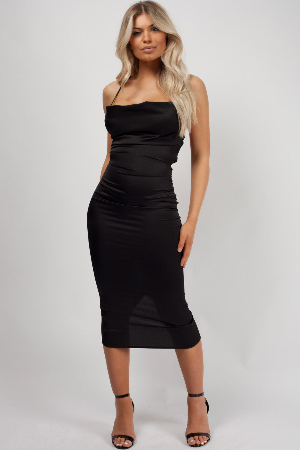 black satin midi dress uk