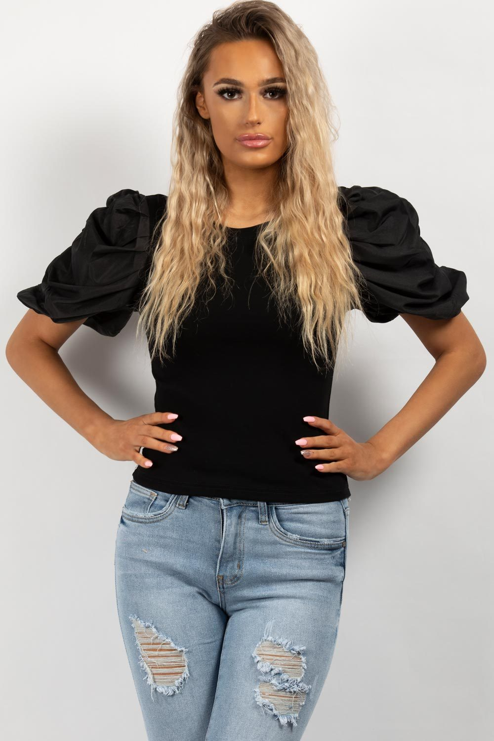 ruched sleeve top black