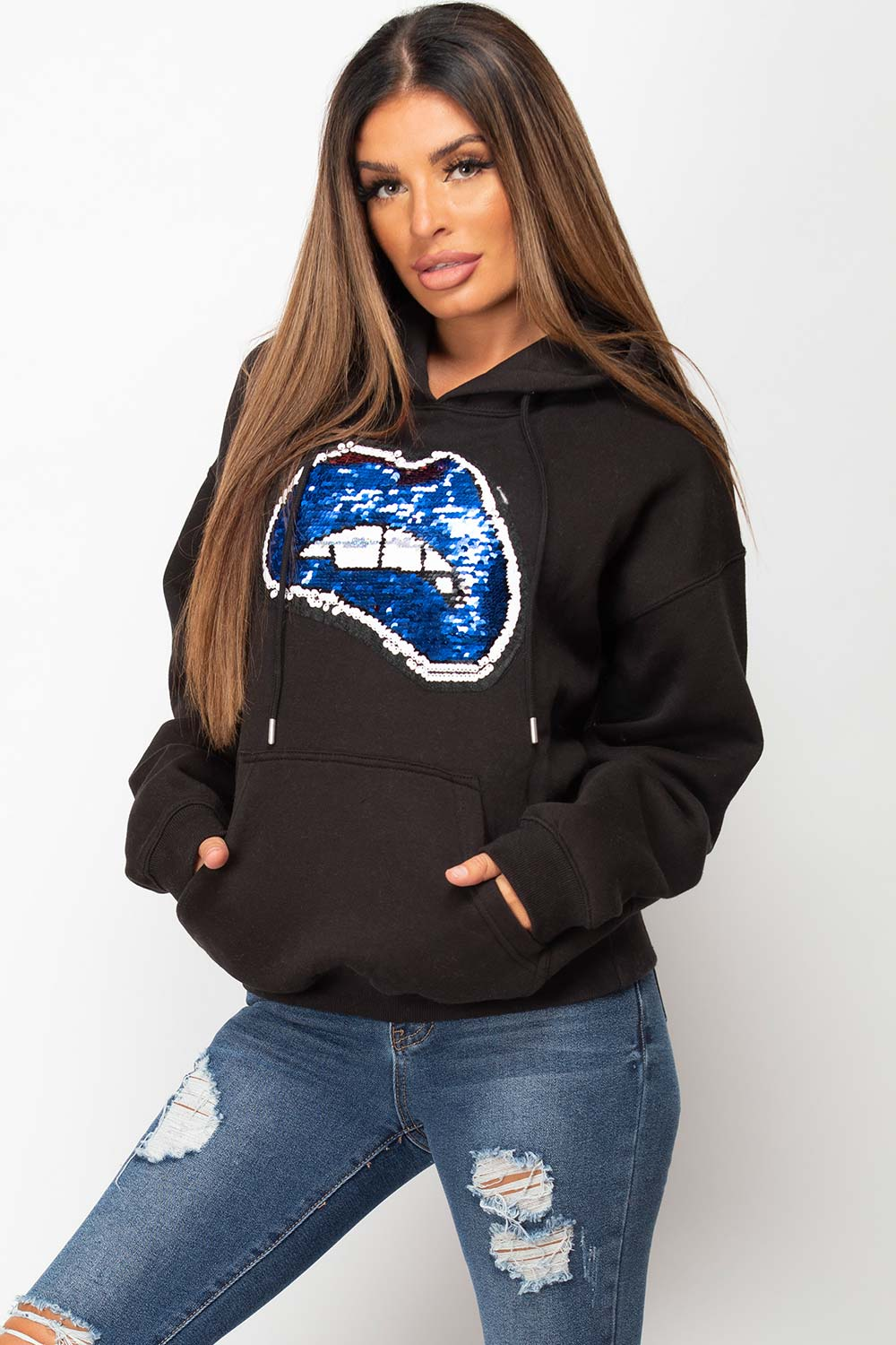 sequin lips black oversized hoodie