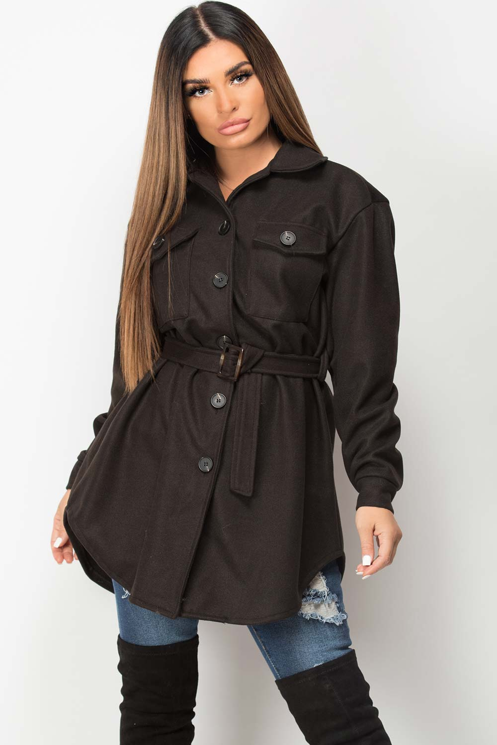 womens black shacket trucker jacket with belted