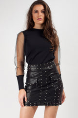 black faux leather stud detail mini skirt