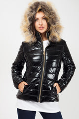 shiny quilted jacket with fur hood