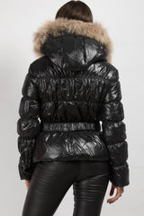 real fur hooded puffer coat