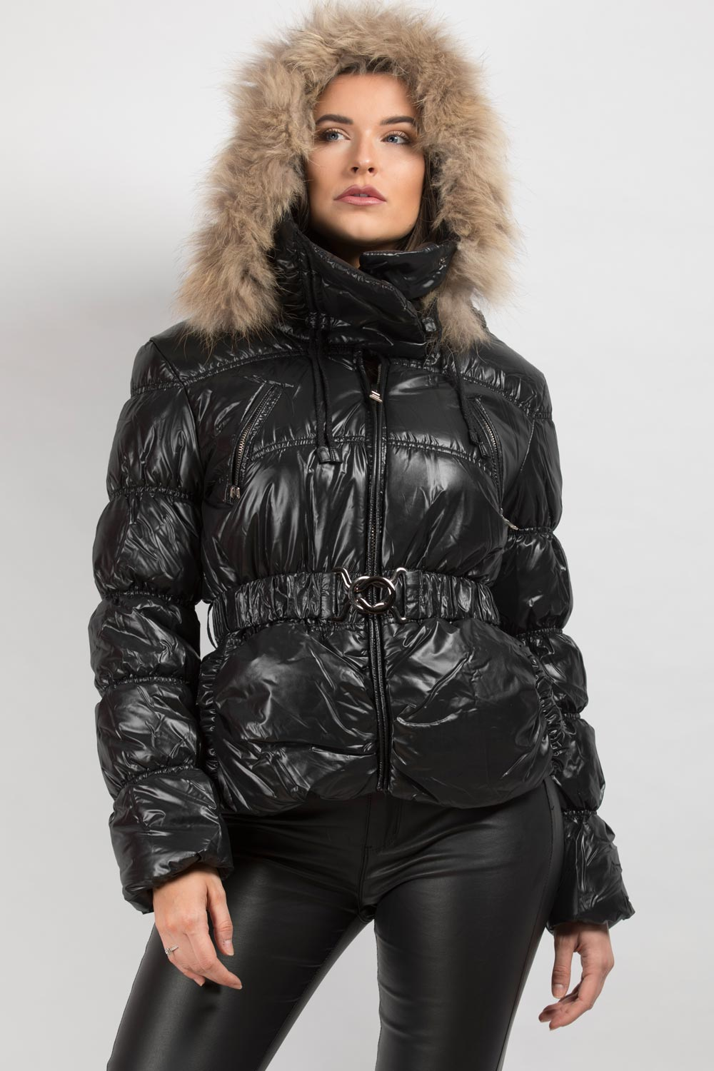 shiny puffer coat with real fur hood
