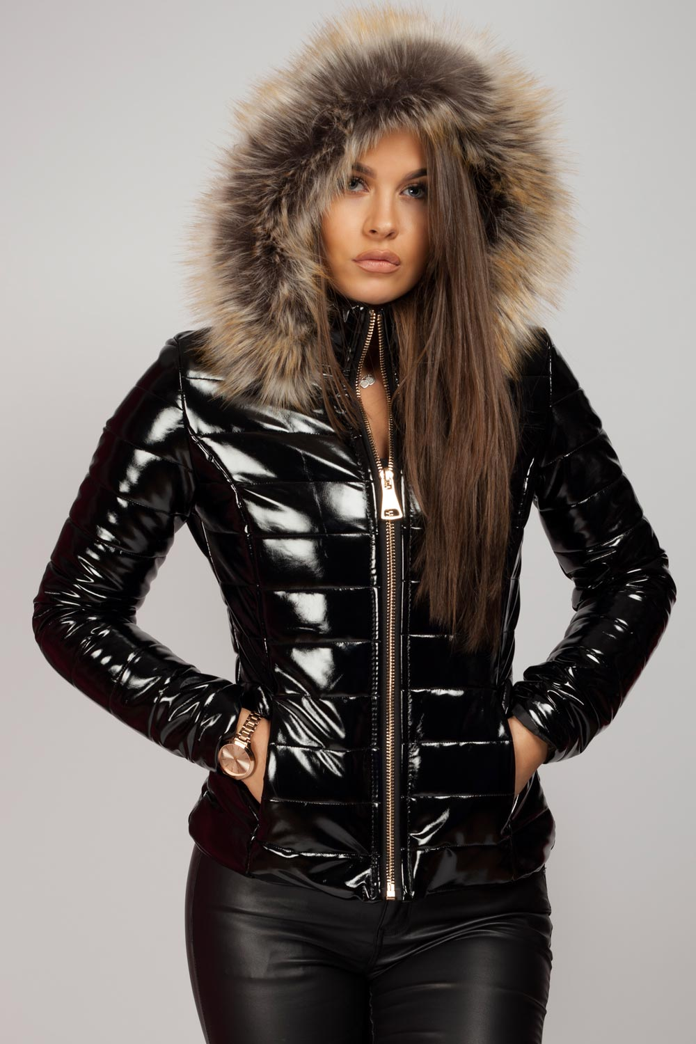 hot-selling latest reputable site shoes for cheap Wet Look Puffer Coat With Faux Fur Hood