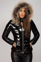 black shinny faux fur hood coat on sale