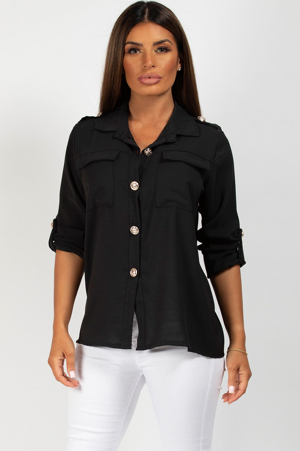 black shirt with gold button detail