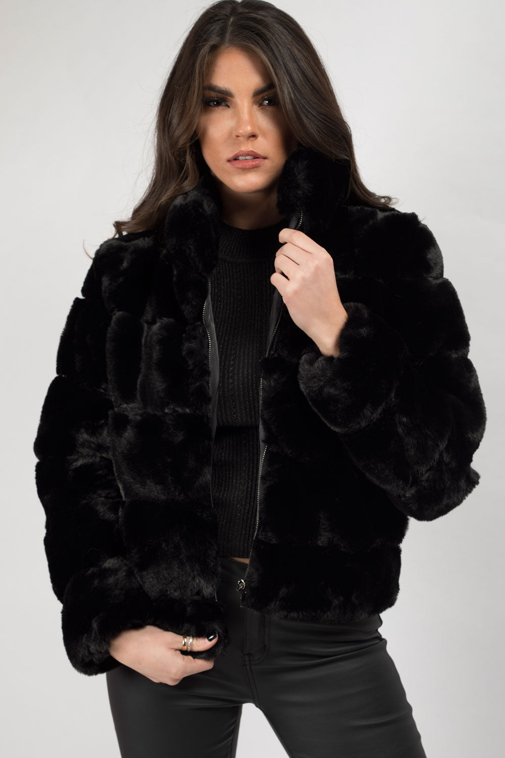 black faux fur jacket uk