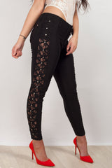 lace side black jeggings
