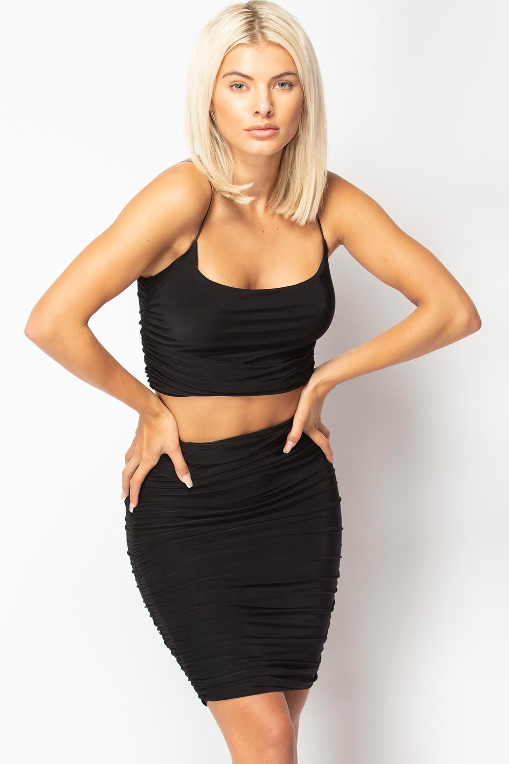 black skirt and crop top set