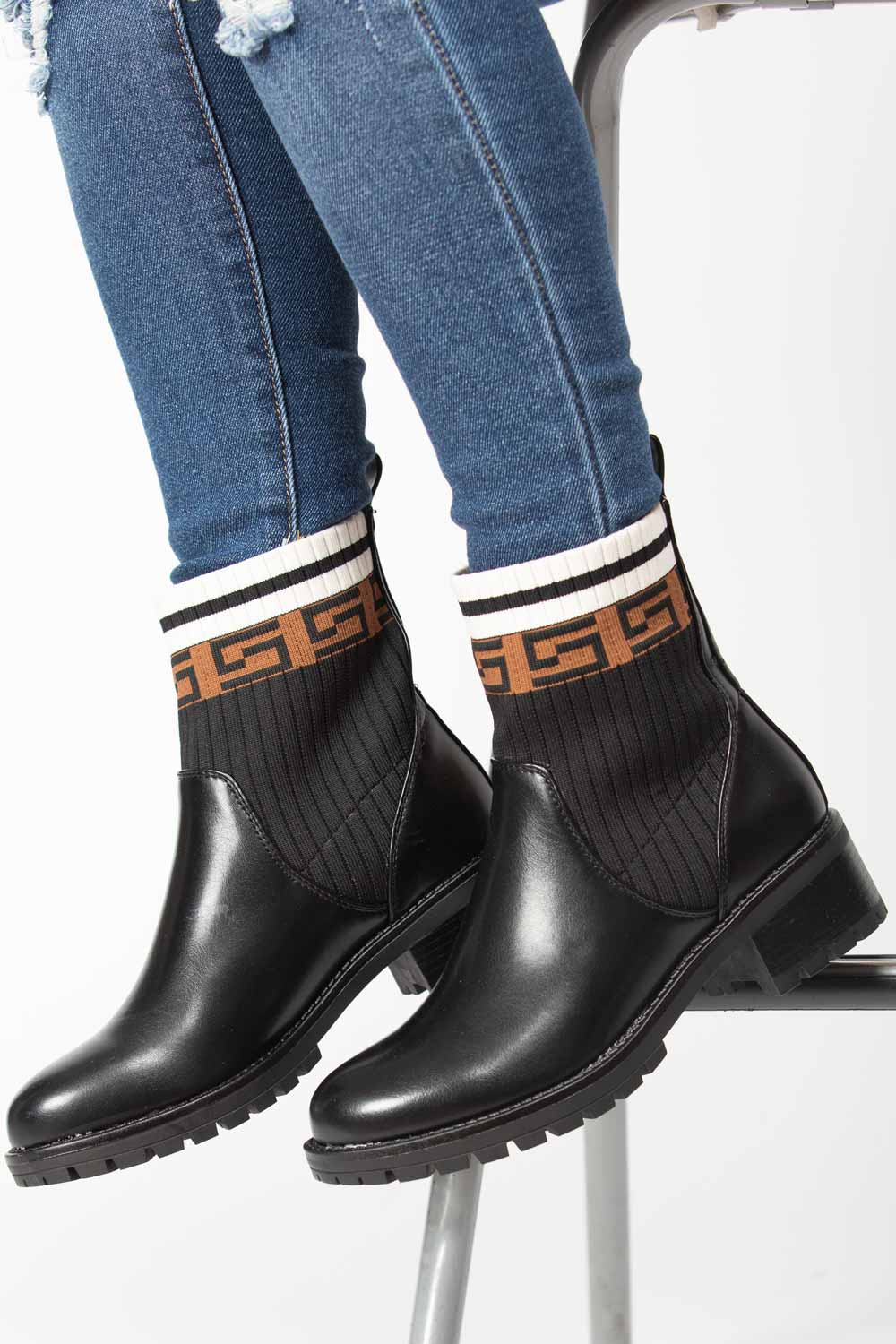 black sock boots womens