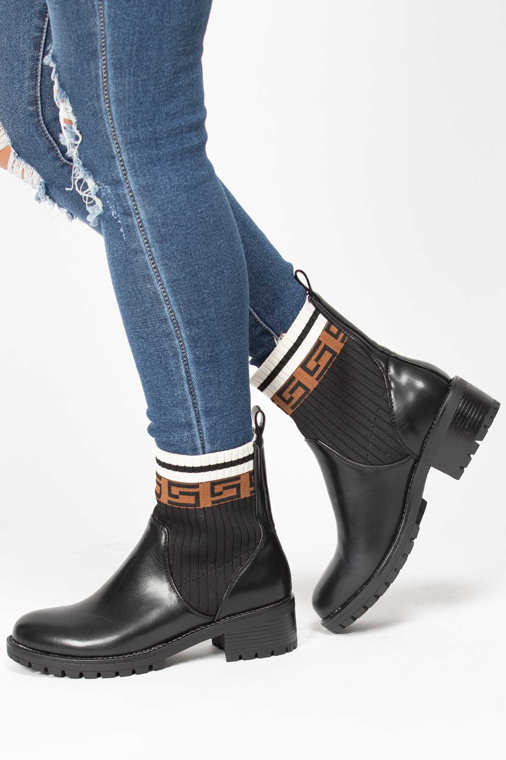 sock ankle boots black