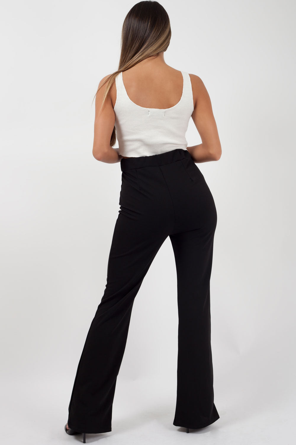 black high waisted split front trousers