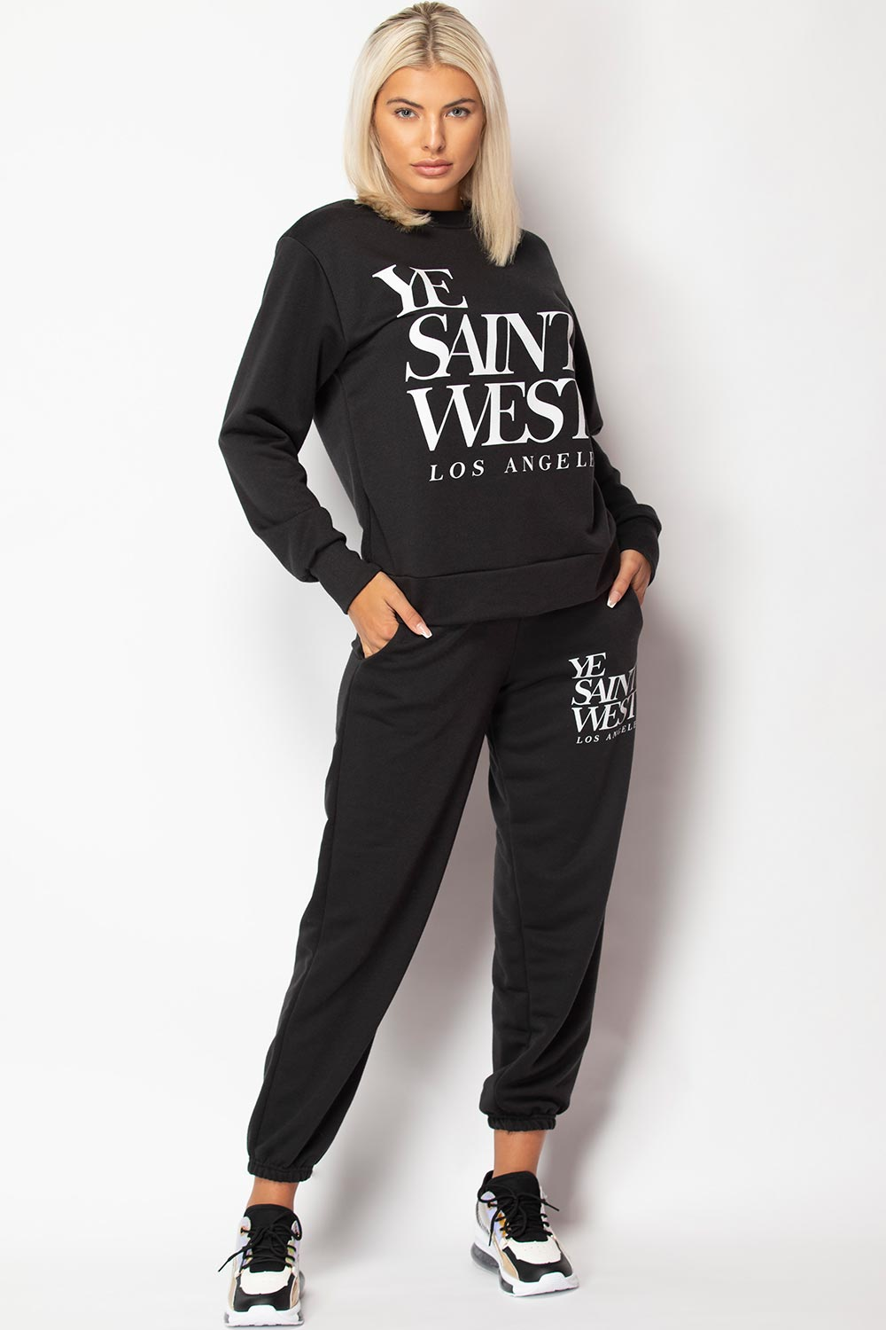 black ye saint love sweatshirt and joggers set