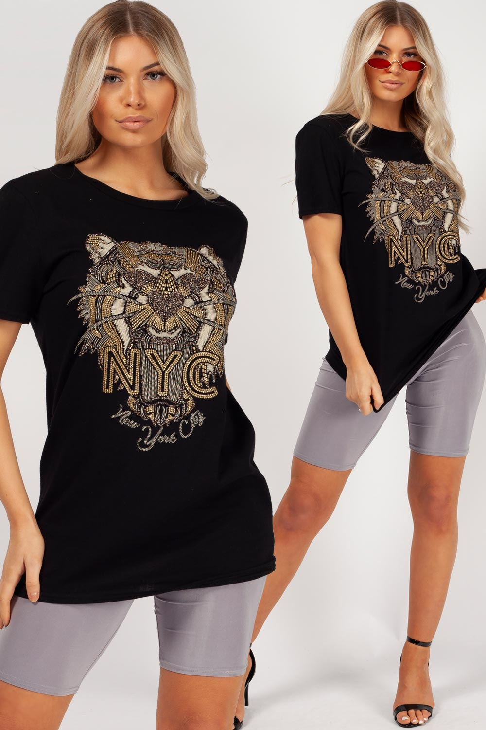 tiger print black t shirt womens