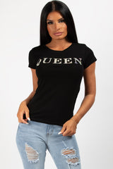 queen diamante slogan top black
