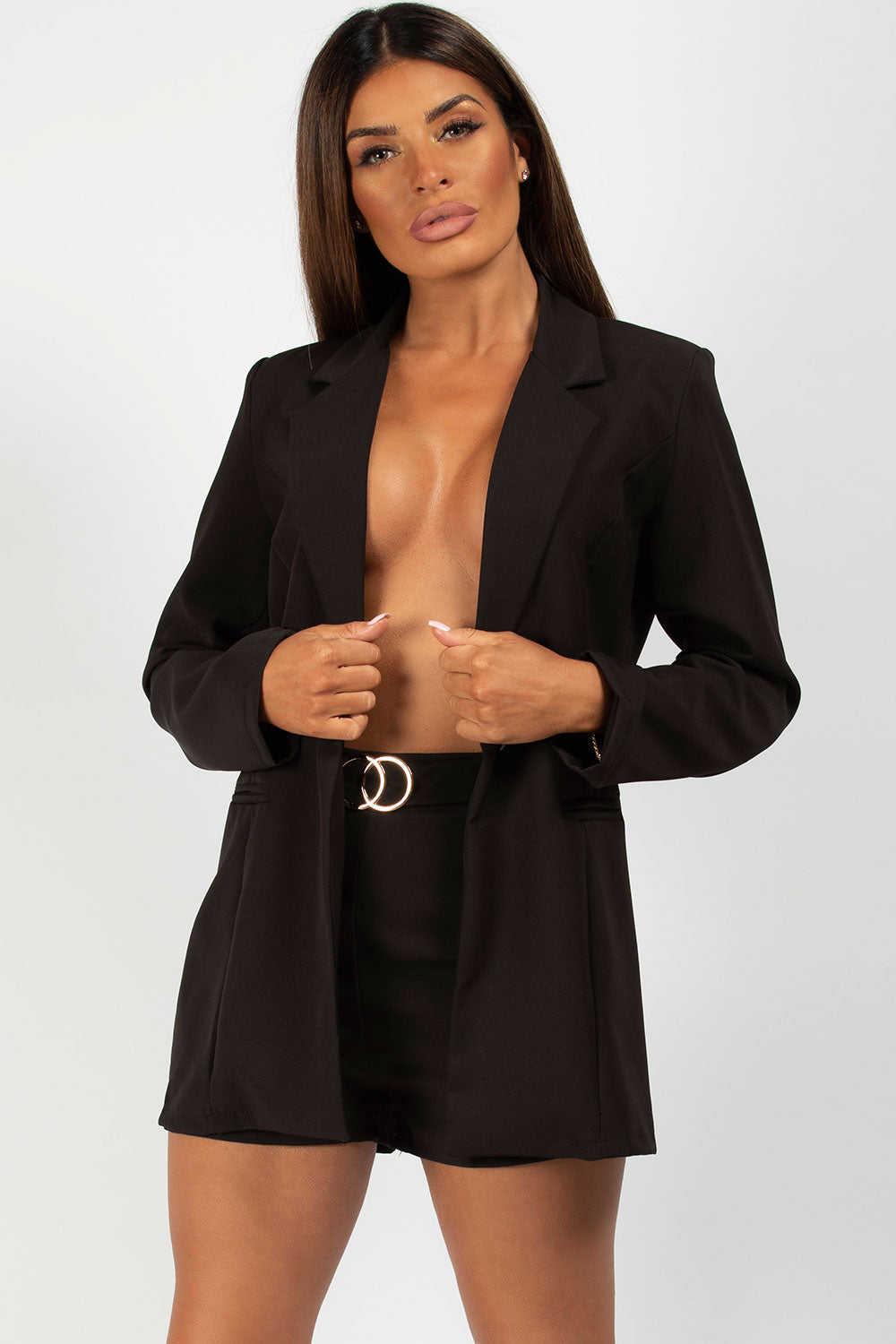black blazer cc buckle shorts set