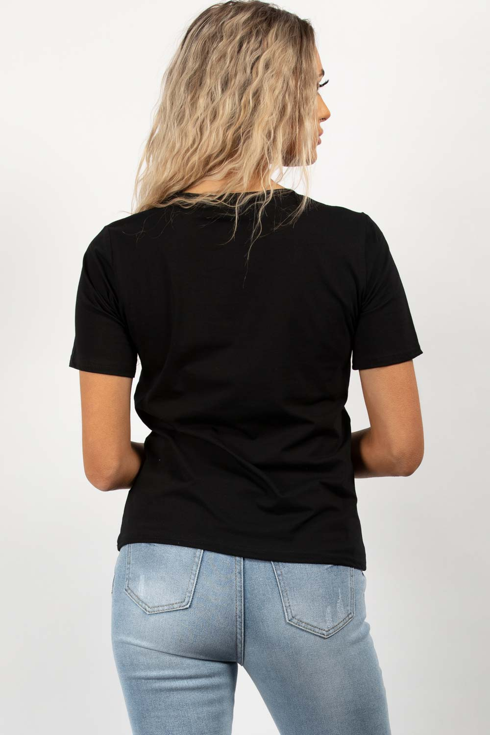 Love Embroidered Slogan Top Black