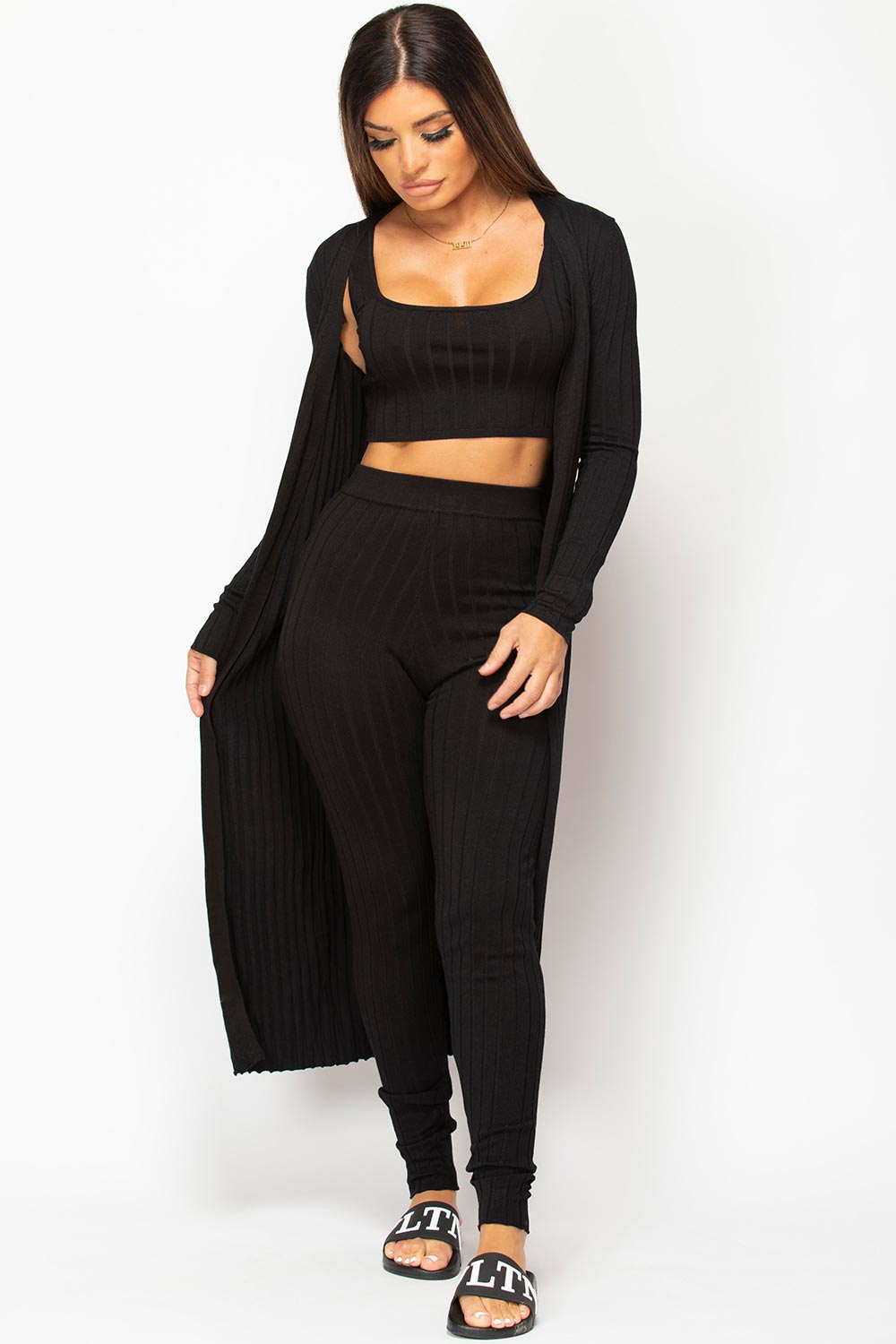 black knitted three piece loungewear set