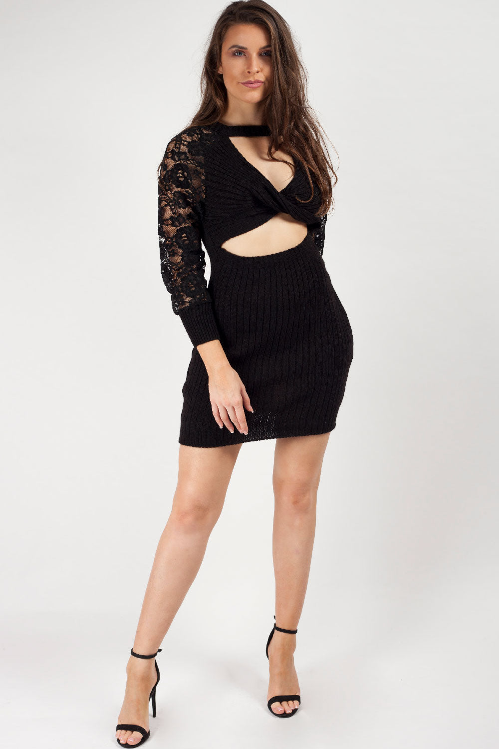 black twist front jumper dress