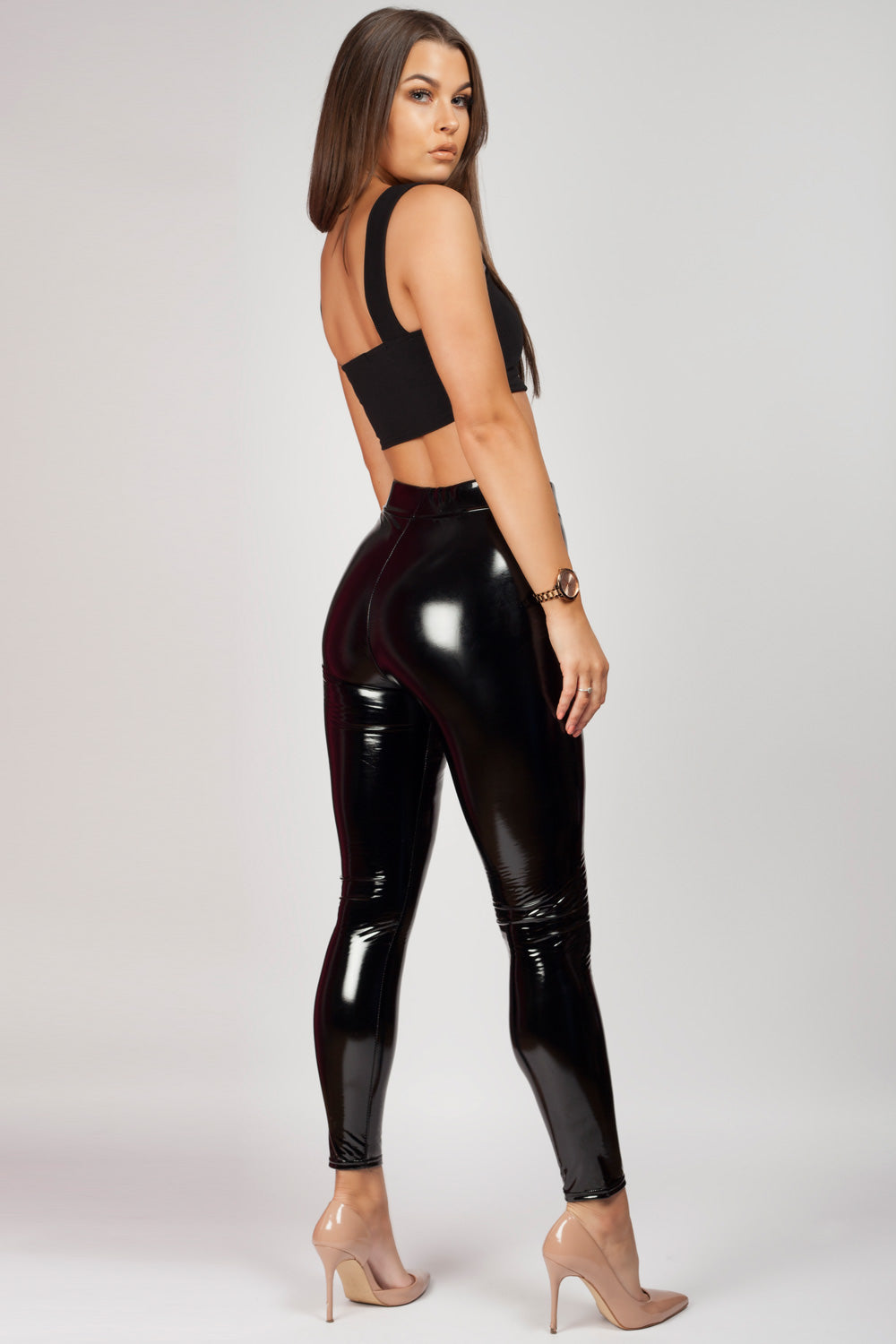 Black Vinyl Leggings High Waisted