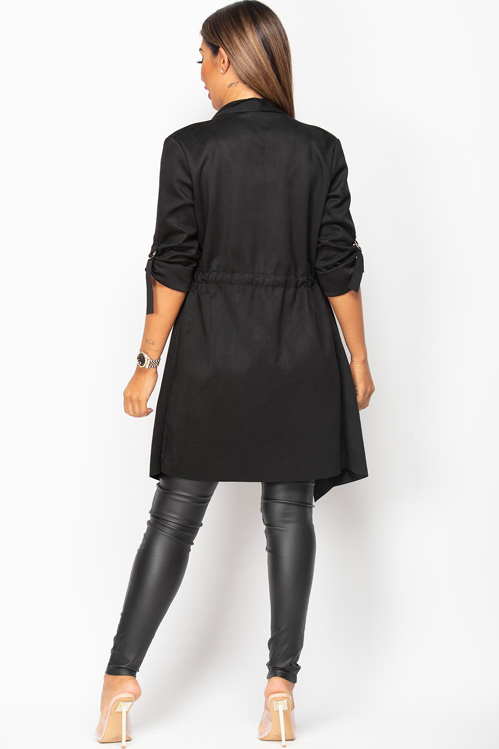 black faux suede waterfall duster jacket