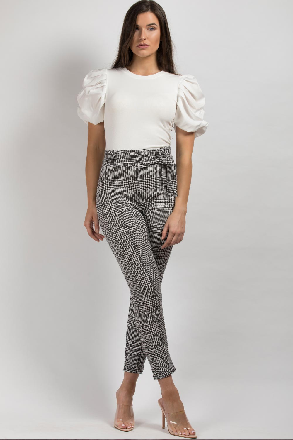 high waisted belted black white trousers
