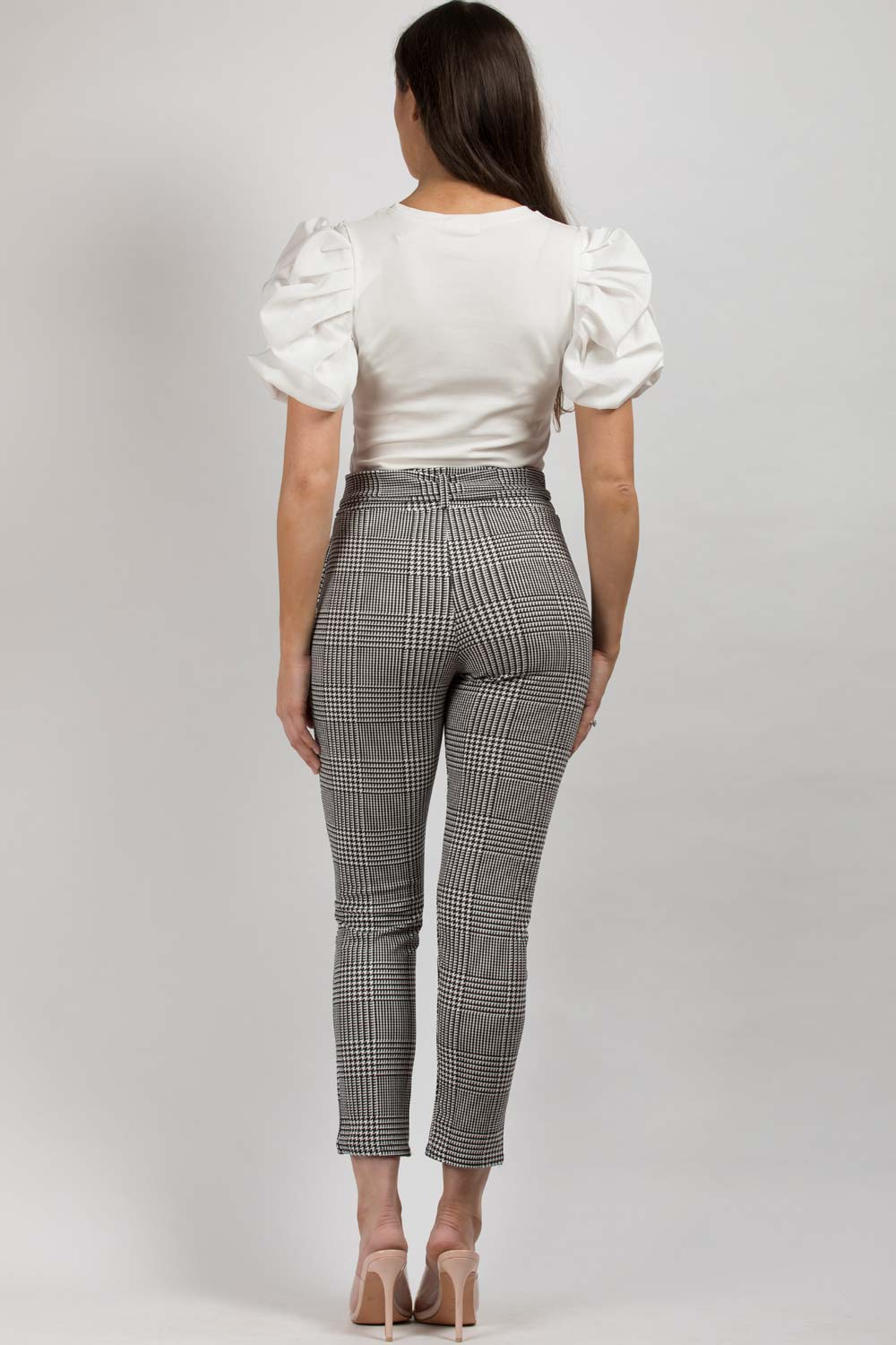 black white high waisted belted trousers