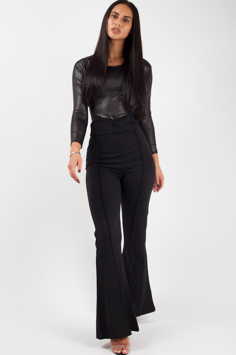 womens black high waisted trousers