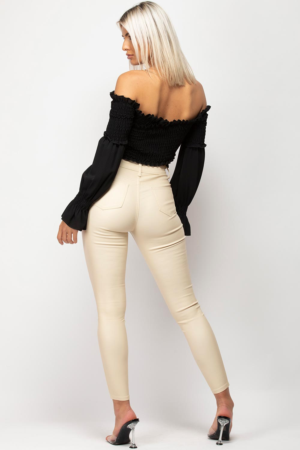 beige leather look jeans womens