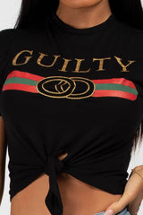 black guilty crop top