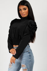 black satin puff sleeve blouse