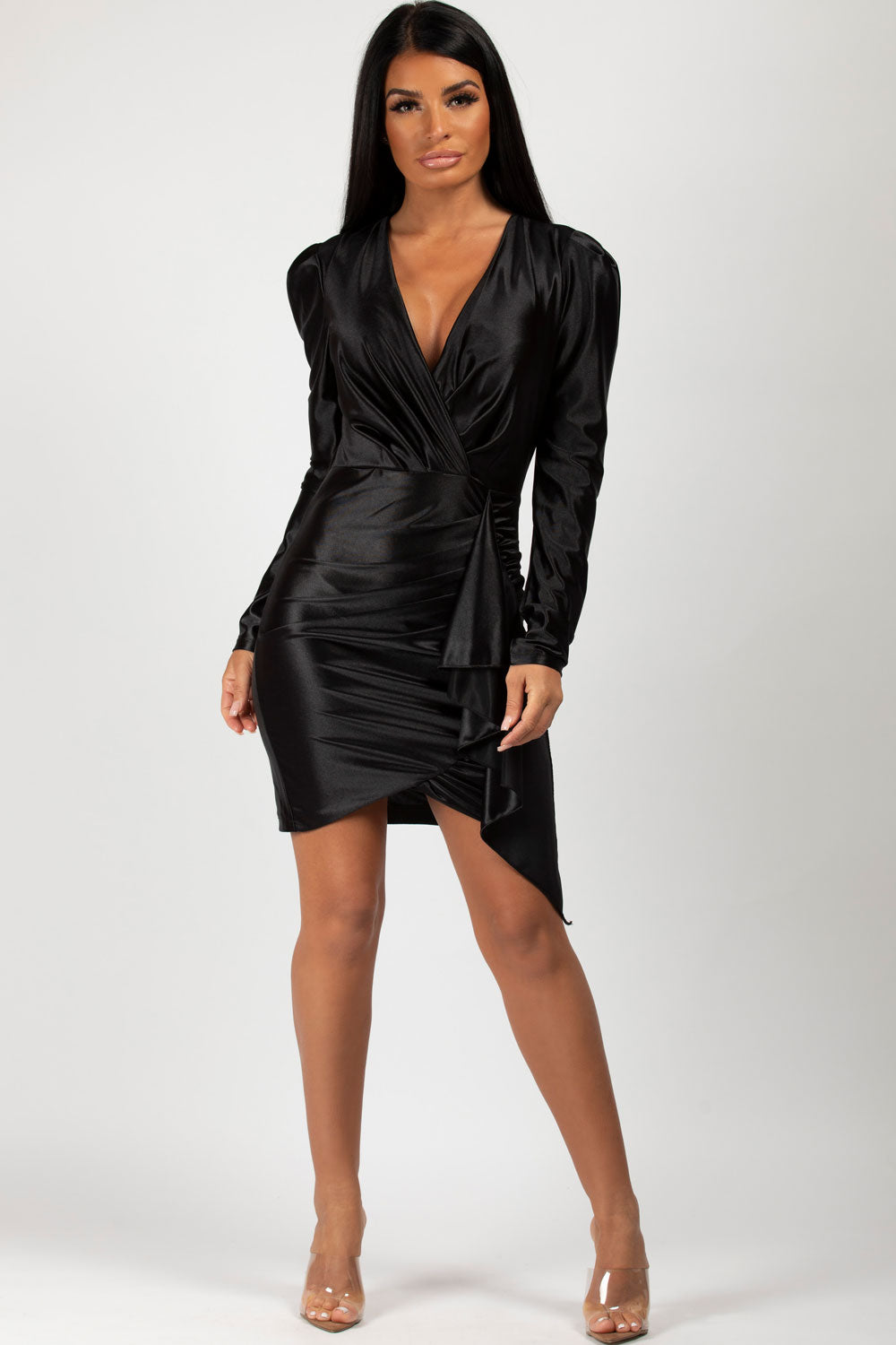 black satin long sleeve dress