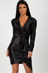 satin long sleeve black dress