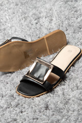 gold buckle black sliders