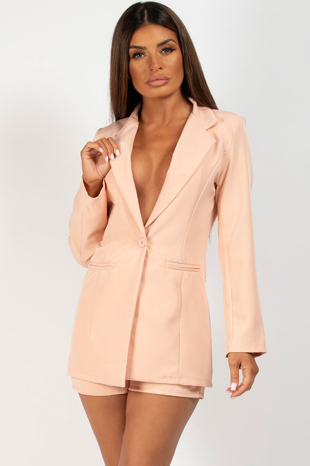 nude buckle detail shorts and blazer co ord