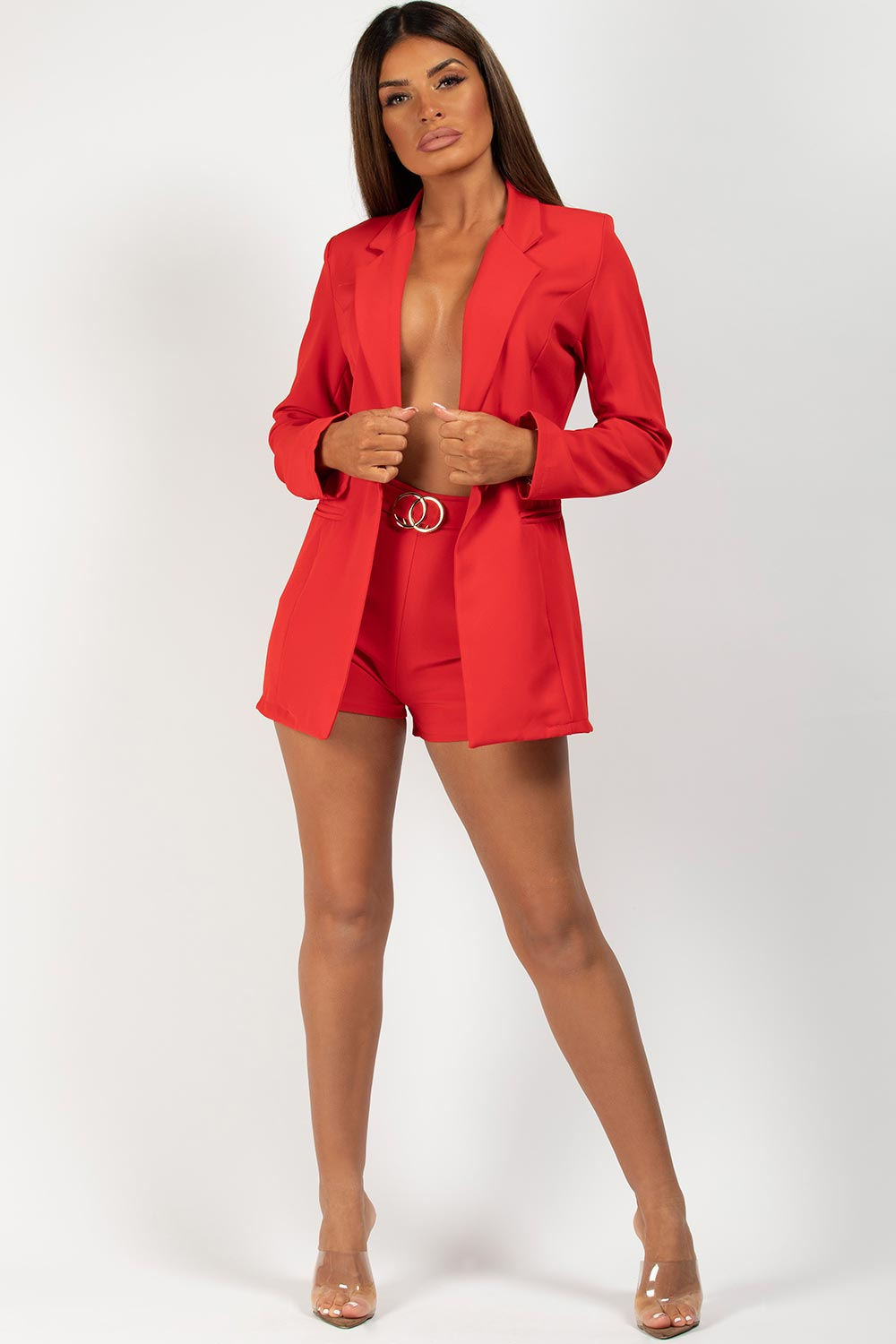 red double circle buckle shorts and blazer set