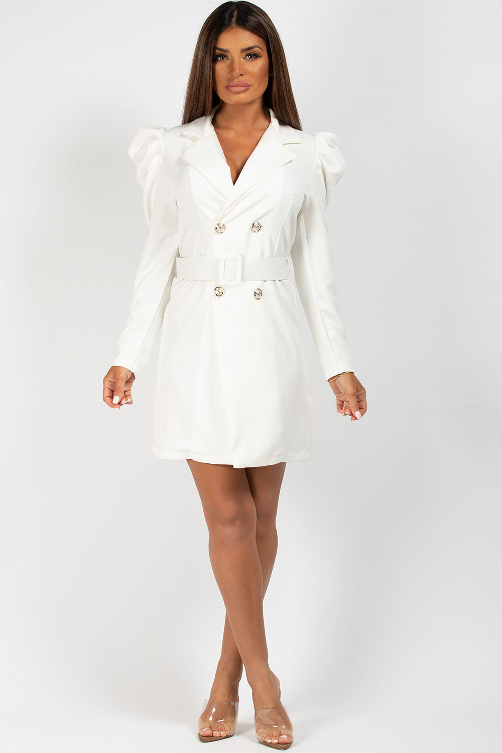 cream blazer dress