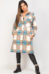 long shacket blue brown check